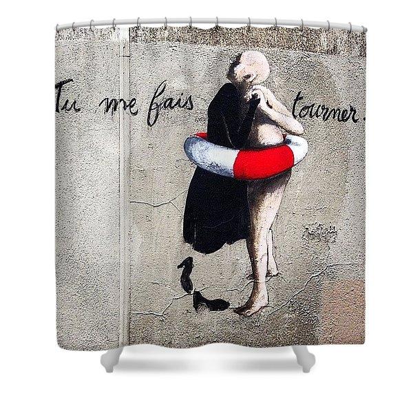 Tu Me Fais Tourner... #streetart #paris Shower Curtain