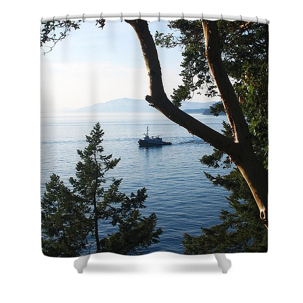 Shower Curtain featuring the photograph Tugboat Passes by Lorraine Devon Wilke