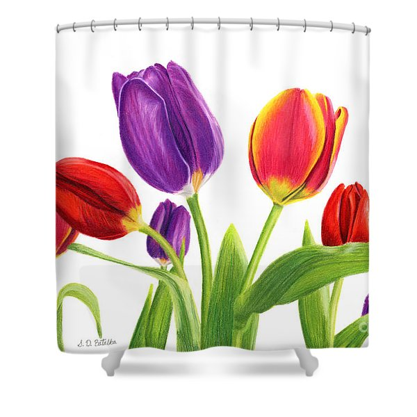 Tulip Garden On White Shower Curtain