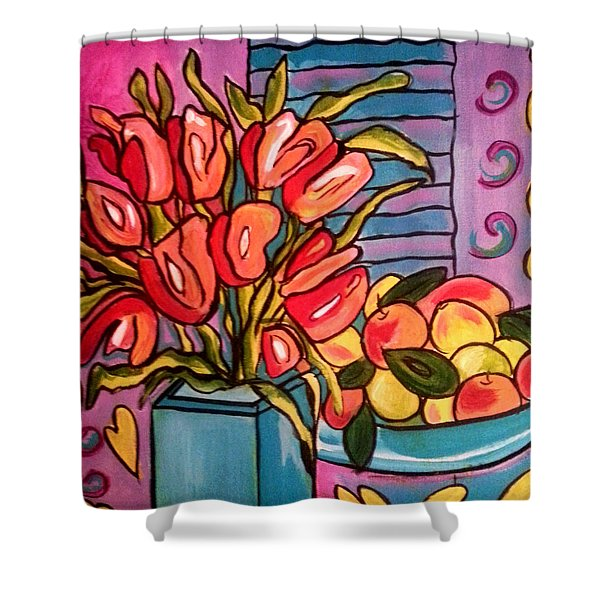 Tulips And Fruit Shower Curtain