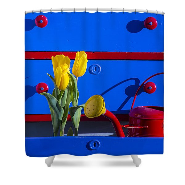 Tulips And Watering Can  Shower Curtain