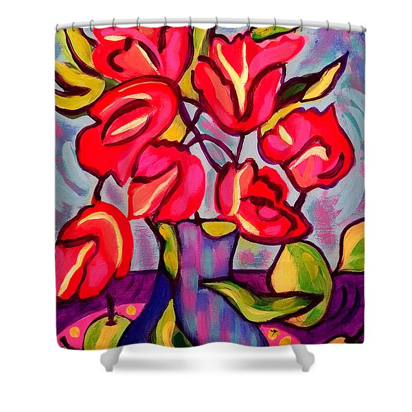 Tulips With Fruit Shower Curtain