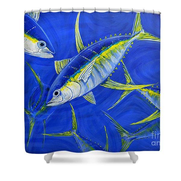 tuna school in Bahamian water Shower Curtain