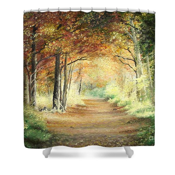 Tunnel In Wood Shower Curtain