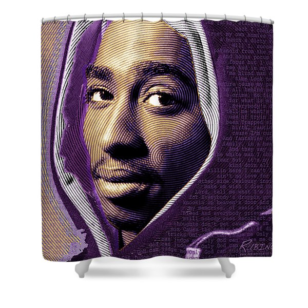 Tupac Shakur And Lyrics Shower Curtain