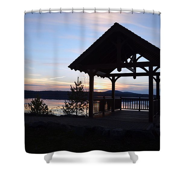 Tupper Lake Sunset Over Raquette Pond Shower Curtain