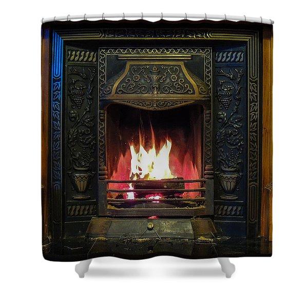 Turf Fire In Irish Cottage Shower Curtain