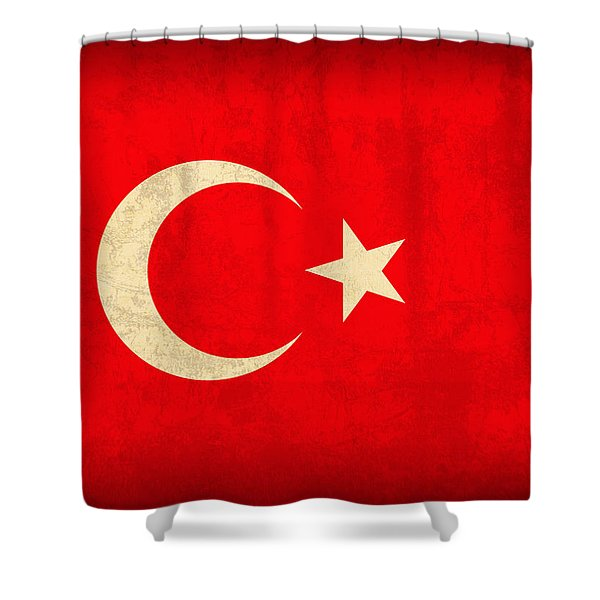 Turkey Flag Vintage Distressed Finish Shower Curtain