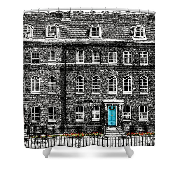Turquoise Doors At Tower Of London's Old Hospital Block Shower Curtain