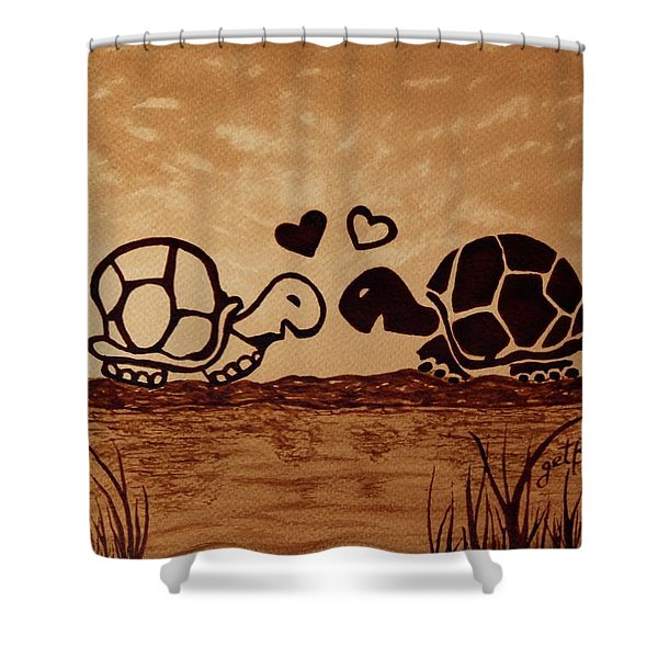 Turtles Love Coffee Painting Shower Curtain