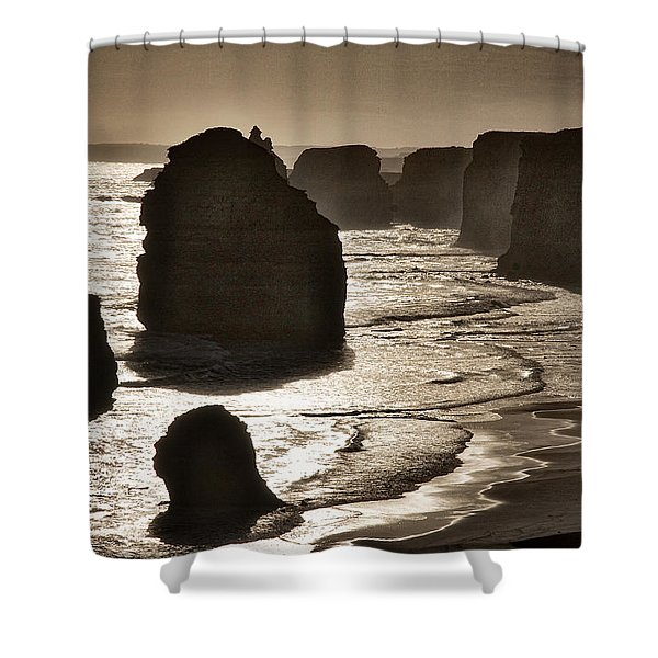 Twelve Apostles #3 - Black And White Shower Curtain