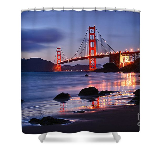 Twilight - Beautiful Sunset View Of The Golden Gate Bridge From Marshalls Beach. Shower Curtain