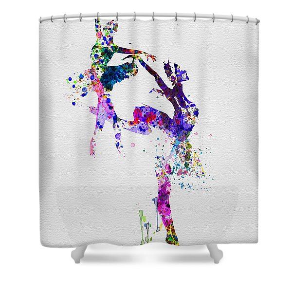 Two Ballerinas Dance Watercolor Shower Curtain