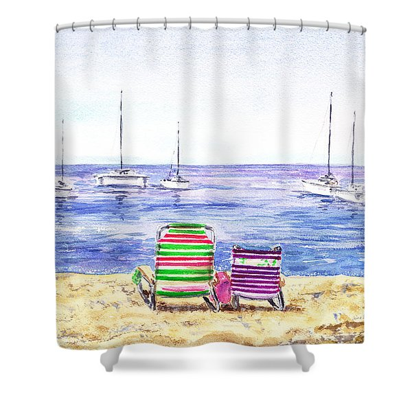 Two Chairs On The Beach Shower Curtain
