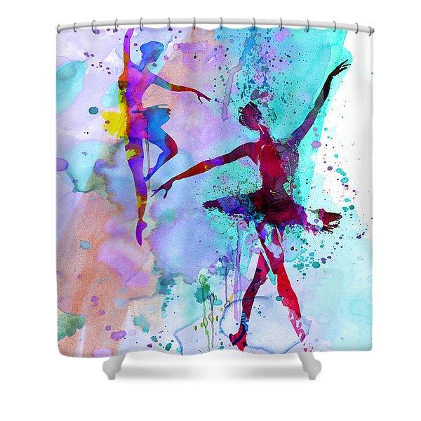 Two Dancing Ballerinas Watercolor 2 Shower Curtain