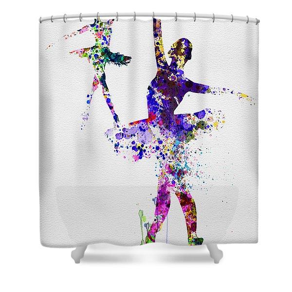 Two Dancing Ballerinas Watercolor 4 Shower Curtain