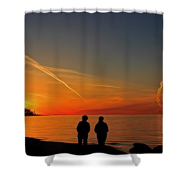 Shower Curtain featuring the photograph Two Friends Enjoying A Sunset by Randy Hall