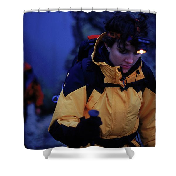 Two Hikers Climbing A Mountain Shower Curtain