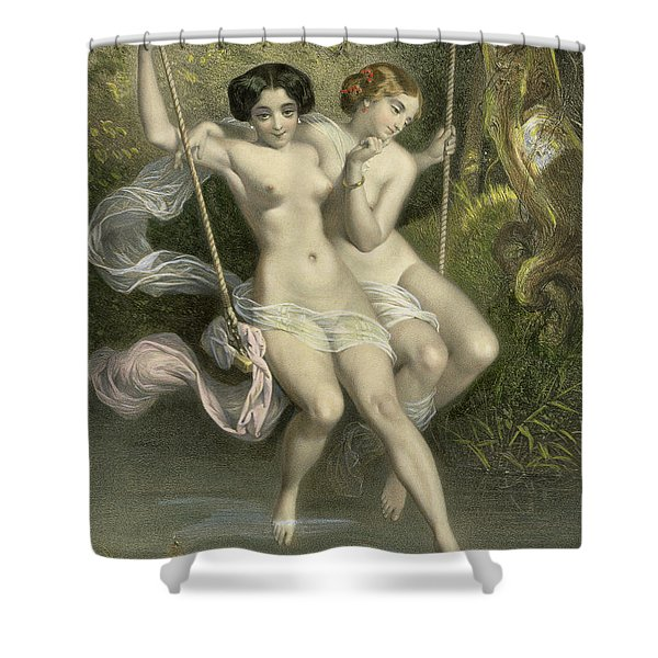 Two Ladies On A Swing Shower Curtain