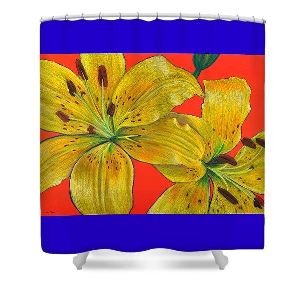 Da128 Two Lillies By Daniel Adams Shower Curtain