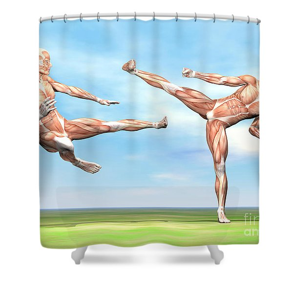 Two Male Musculatures Fighting Martial Shower Curtain