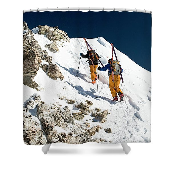 Two Men Backcountry Skiing Hike Shower Curtain