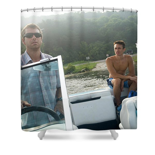 Two Men Pilot A Boat On A Lake Shower Curtain