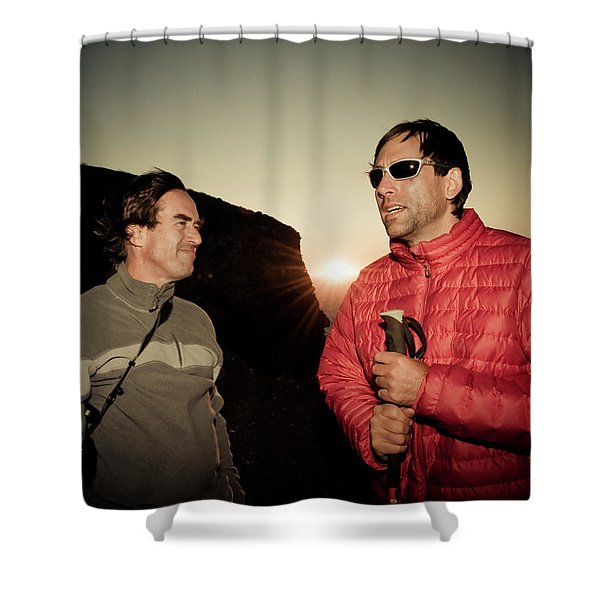 Two Men Share Stories As The Sun Sets Shower Curtain