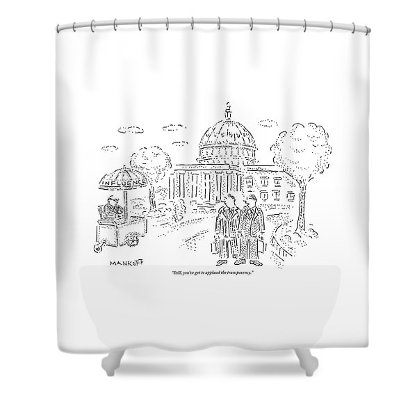Two Men Speak In Front Of The Capitol And Look Shower Curtain