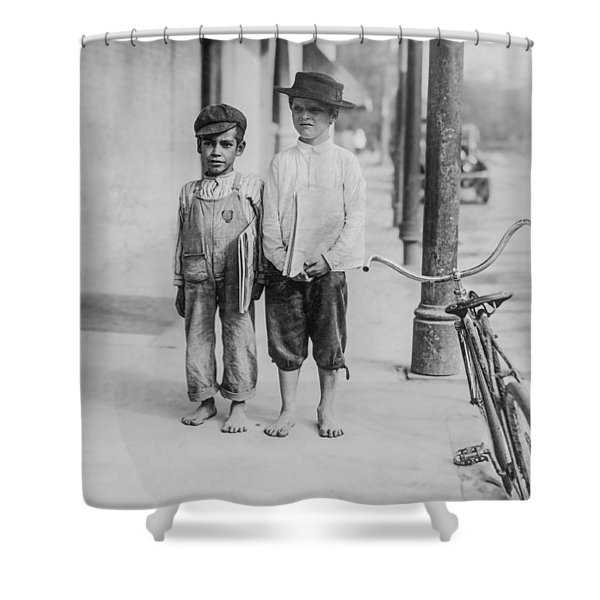 Two Newspaper Boys Shower Curtain