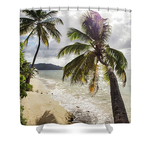 Two Palm Trees On The Beach With Sun Shower Curtain