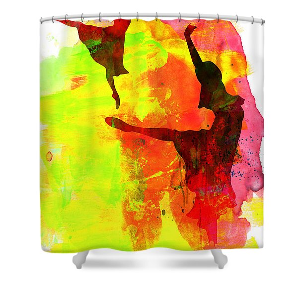 Two Red Ballerinas Watercolor  Shower Curtain