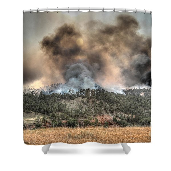Two Smoke Columns White Draw Fire Shower Curtain
