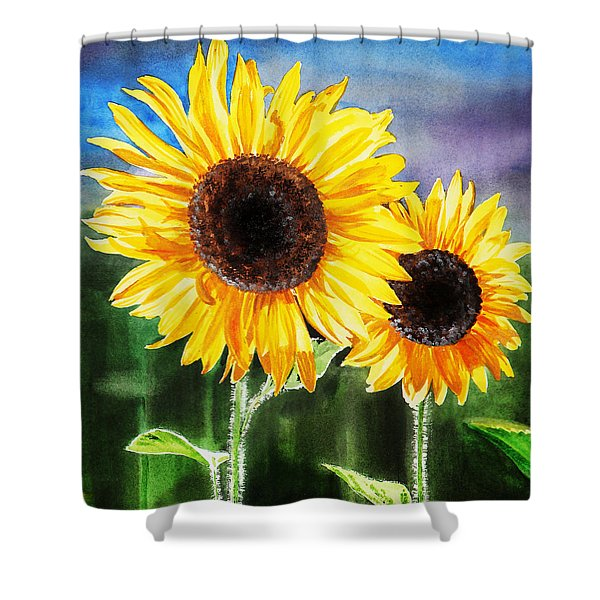 Two Suns Sunflowers Shower Curtain