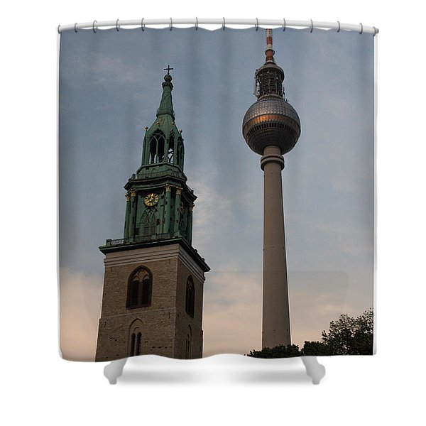 Two Towers In Berlin Shower Curtain