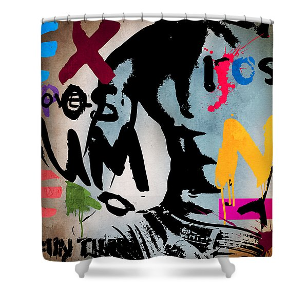 Typography Male  Shower Curtain