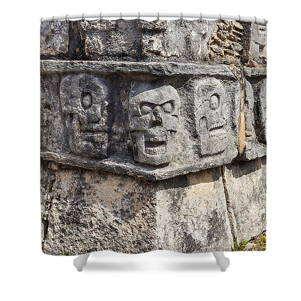 Shower Curtain featuring the photograph Tzompantli Or Platform Of The Skulls At Chichen Itza by Bryan Mullennix