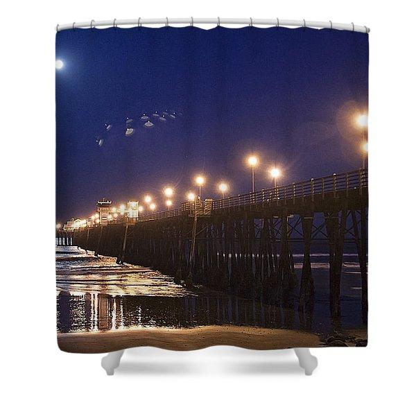 Ufo's Over Oceanside Pier Shower Curtain