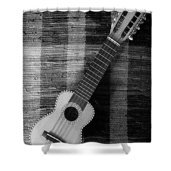 Ukulele Still Life In Black And White Shower Curtain