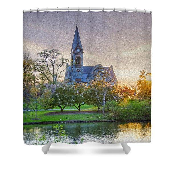 Umass Sunset Shower Curtain