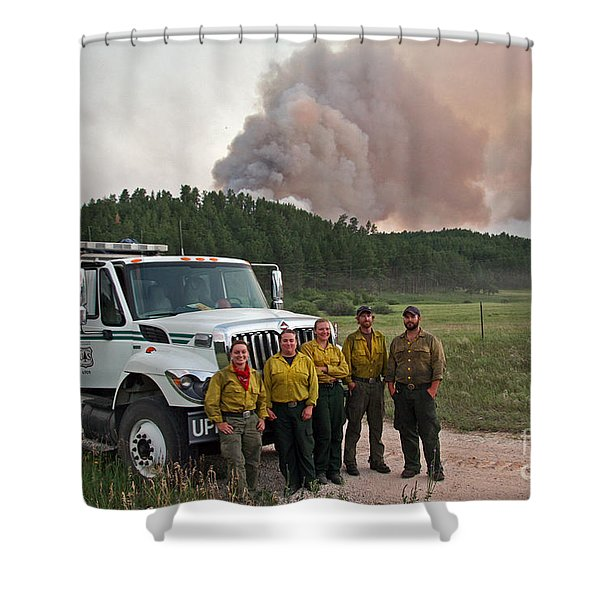 Umpqua Engine 25 On Myrtle Fire Shower Curtain
