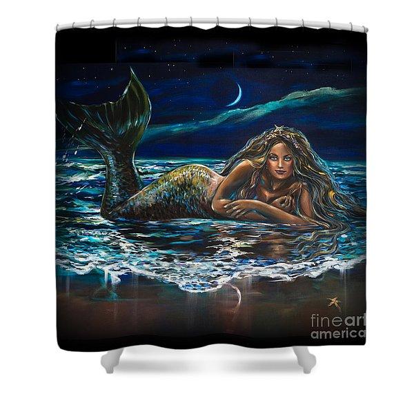 Under A Crescent Moon Mermaid Pillow Shower Curtain