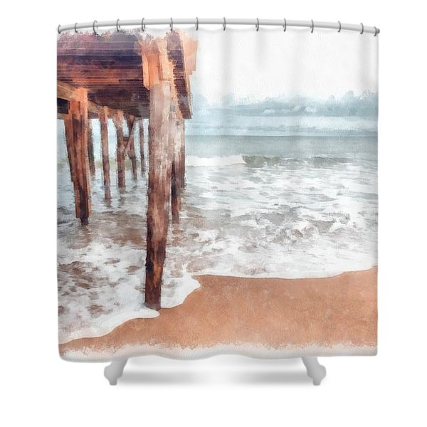 Under The Boardwalk Watercolor Shower Curtain