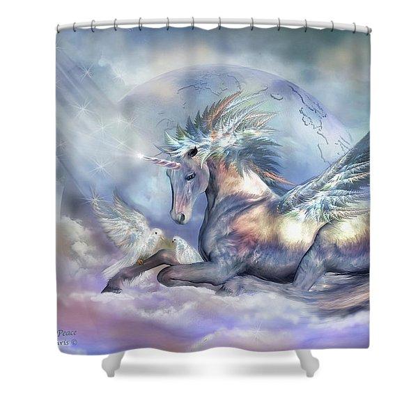 Unicorn Of Peace Shower Curtain by Carol Cavalaris