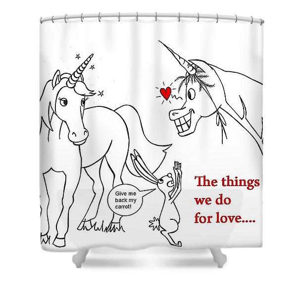 Unicorn Valentines Card Shower Curtain