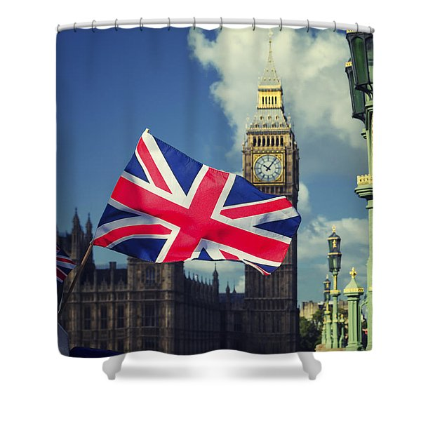 Union Jack In London Shower Curtain