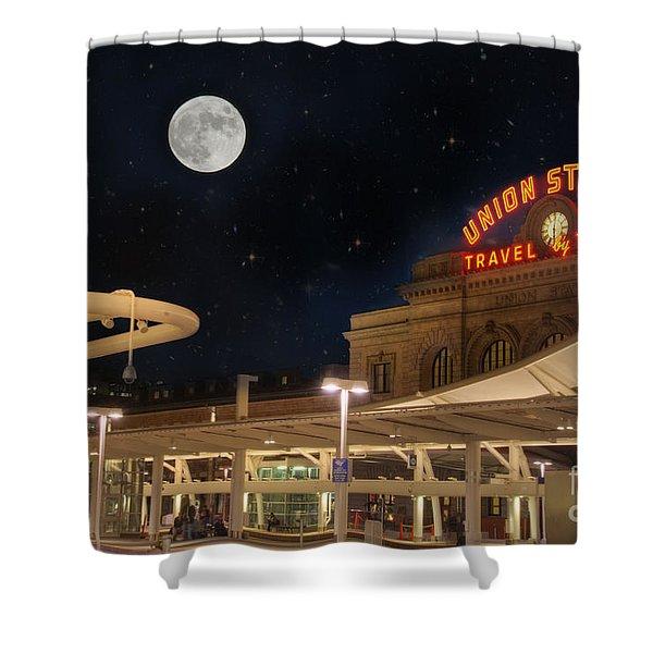 Union Station Denver Under A Full Moon Shower Curtain