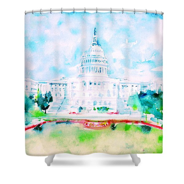 United States Capitol - Watercolor Portrait Shower Curtain