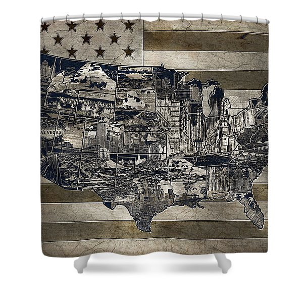 United States Flag Map Vintage 4 Shower Curtain