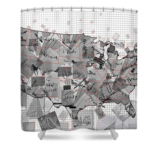 United States Map Collage 3 Shower Curtain